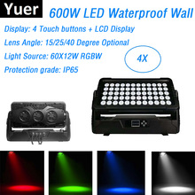 4Pcs Outdoor Wall Washer Lights 60X12W RGBW 4IN1 DMX Bar DMX Washer Wall Stage Effect Lights IP65 For Stage Dj Xmas Holiday Show цены