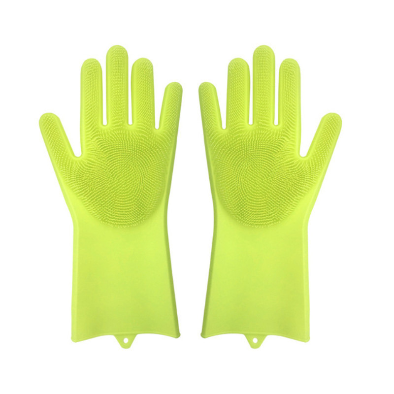 Food Grade Dishwashing Gloves Silicon Dishes cleaning Gloves with Cleaning Brush Kitchen Wash Housekeeping scrubbing gloves in Household Gloves from Home Garden