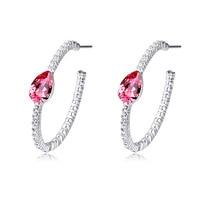 Hoop Earrings For Women Water Drop Austrian Crystal Vintage Jewelry Party Earrings Wedding Gift 5 Options Fine Bijoux Wholesale