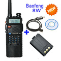 3800 mAh PTT 8 W de Banda Dual de Baofeng Batería V/UHF Jamón de Dos vías de Radio Walkie Talkie Transceptor UV-8HX, uv-5re plus + cable de programación