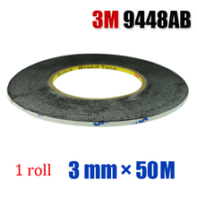 Original 3M 9448AB (3mm*50M) Two Sides Black Adhesive Tape Glue for Samsung Galaxy Sony Phone Touch Screen LCD Display