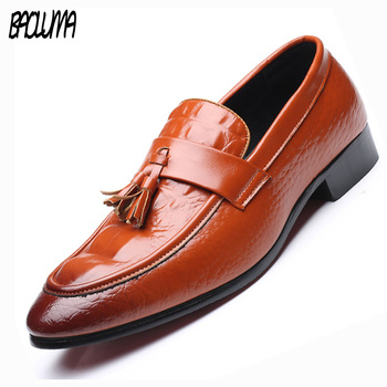 BAOLUMA Men Loafers PU Leather Pointed Toe Oxfords Business Shoes Italy Dress Shoes Formal Oxford Shoes Men Flats Wedding Shoes