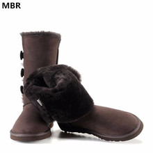 MBR UG Classic Women Snow Boots Leather Winter Shoes Boot bota feminina botas mujer zapatos Women's Fur Snow Boots Size US 4-13(China)