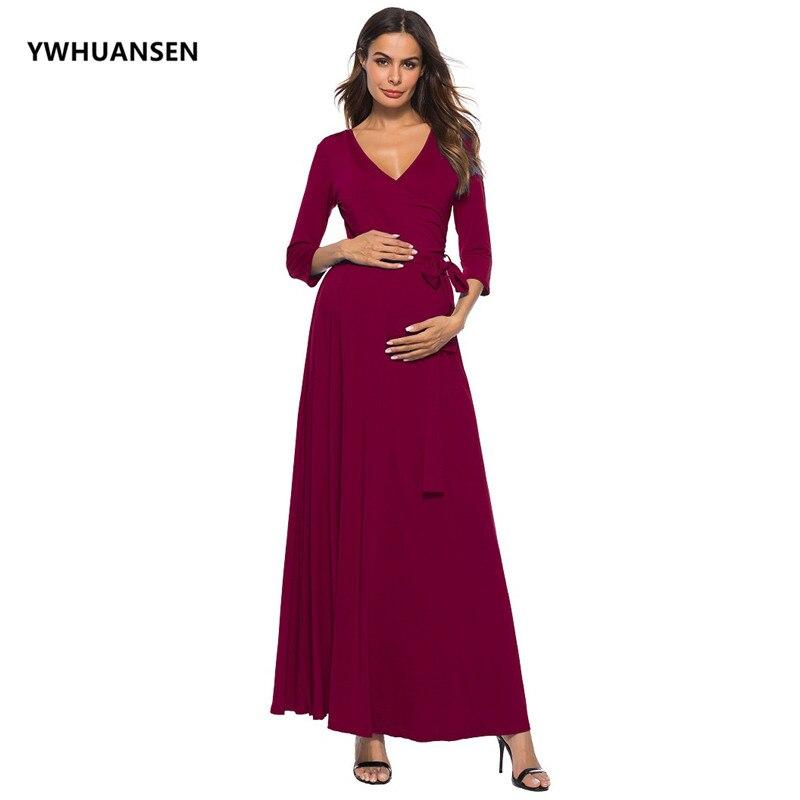 YWHUANSEN глубокий v-образный вырез с длинным рукавом платья для беременных женщин с поясом длинное платье для беременных фотосессия вечернее п...