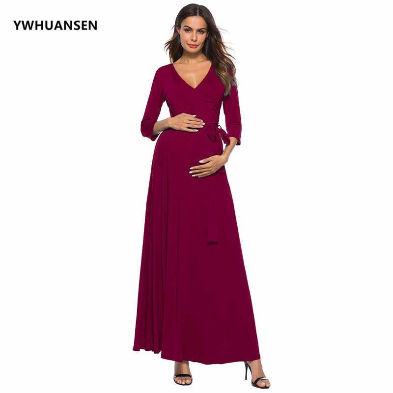YWHUANSEN с глубоким v-образным вырезом и длинным рукавом платья для  беременных женщин с поясом 239193f3fca