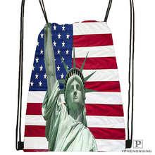 Custom Statue-Of-Liberty-America-Flag-@1 Drawstring Backpack Bag Cute Daypack Kids Satchel (Black Back) 31x40cm#20180611-02-59