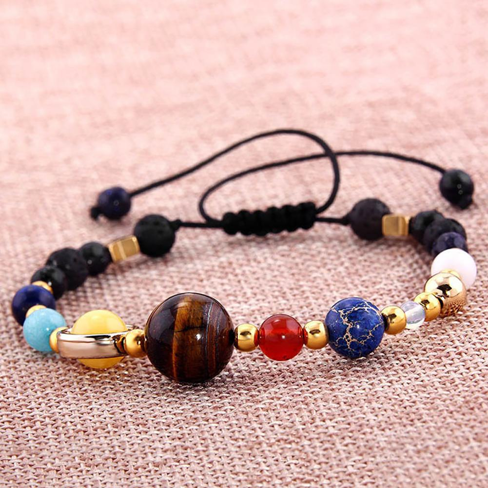 18.5cm Solar System Eight Planets Natural Stone Beaded Bracelet Charm Jewelry