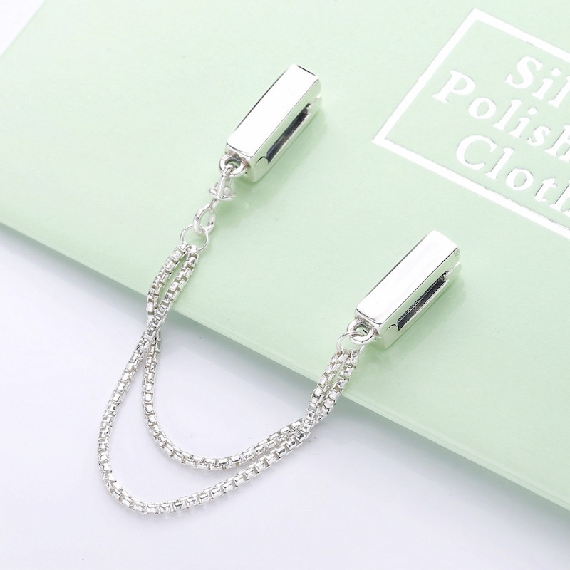 925 Sterling Silver Safety Chains Fit Pandora Charms Silver 925 Original Bracelet Reflexions Floating Safety Chains For Jewelry