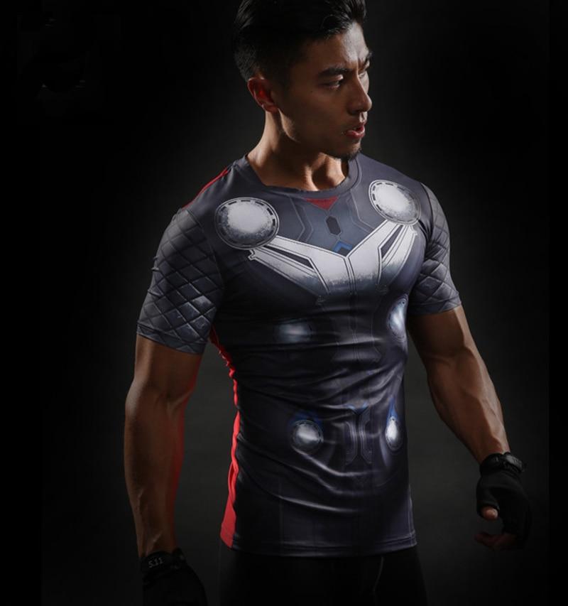 Thor costume  Superhero Avengers Mens Short Sleeve T-shirt Adult Compression Fitness Tops