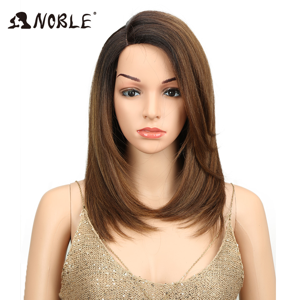 Noble Short BOB Wig For Women Synthetic Hair Side Part Lace 18 Heat Resistant High Temperature Fiber Glueless Ombre Straight Wig
