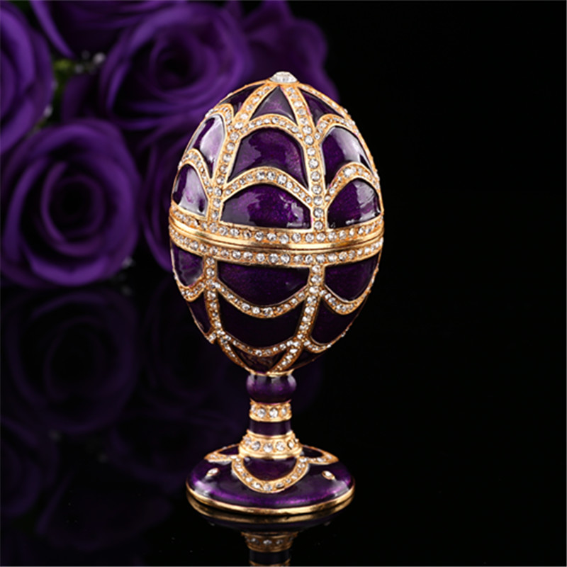 Qifu Elegant Purple Color Faberge Egg Shape Gift Boxes For Jewelry