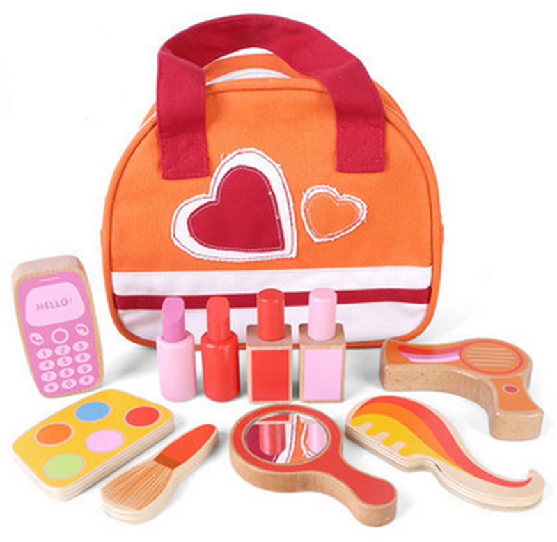 ФОТО New Wooden Baby Toys Cosmetic Set Toys Baby Educational Toys Baby Gifts