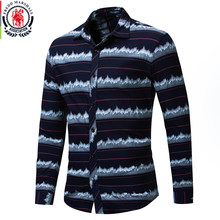2e9082a587c Fredd Marshall 2018 Fashion City Silhouette Printed Shirt Men Long Sleeve  100% Cotton Casual Dress
