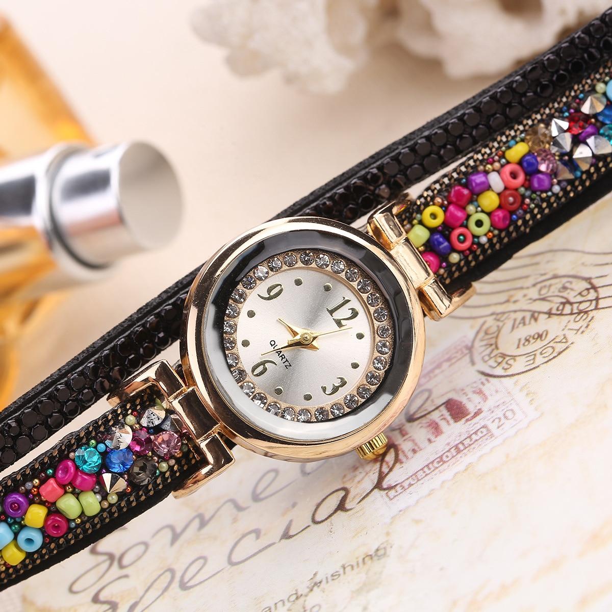 Fashion Luxury Leather Watch Kvinnor Classic Crystal Decor Armband - Damklockor - Foto 6