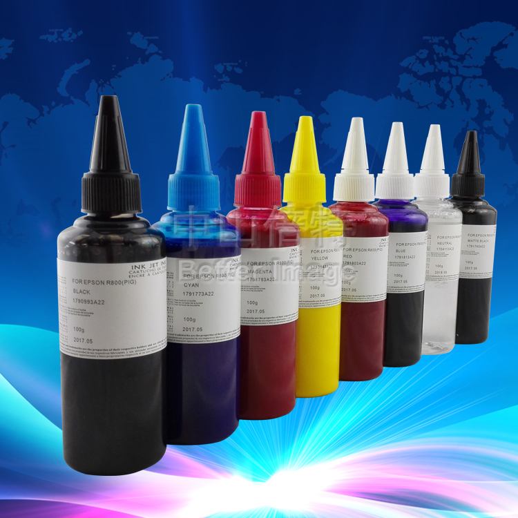 8*100 ml refill pigmenttinte für epson stylus photo r1800 r800