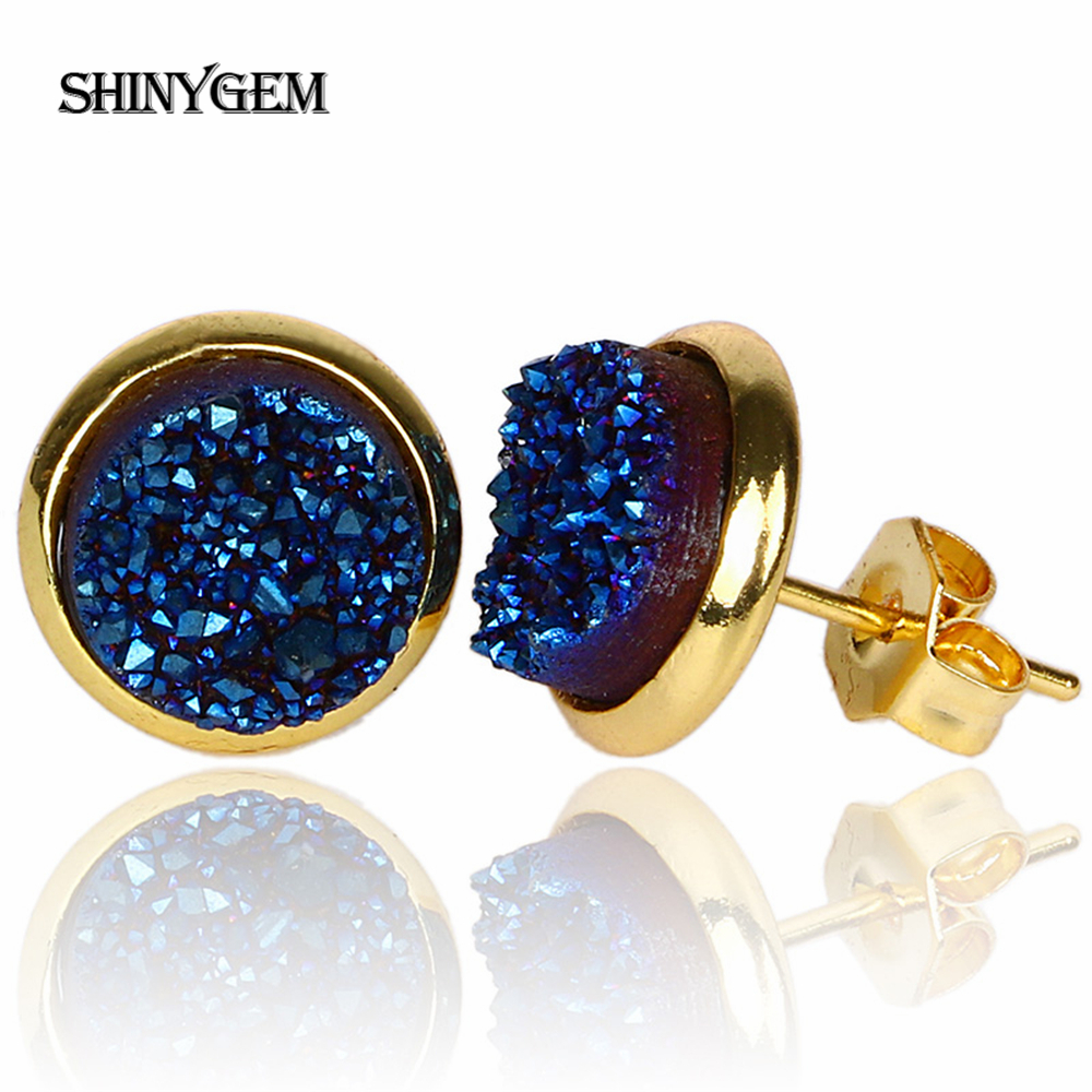 ShinyGem New Fashion Kristal Stud Earrings Emas Plating Colorful Druzy Earrings 8mm Putaran Batu Alam Anting Kecil Untuk Wanita