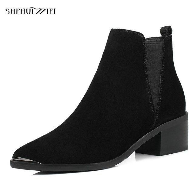 Shehuimei из коровьей замши женские ботильоны Ботинки Челси Женские ботинки с острым носком; осенне-зимние модные ботинки для женские размеры 34–43