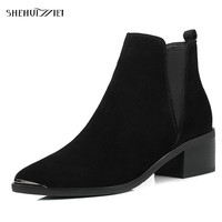 SHEHUIMEI Cow Suede Women Ankle Boots Chelsea Boots Pointed Toe Shoes Woman Bootie Autumn Winter Fashion Boots for Women 34 43