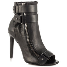 Black Soft Leather Short Women Boots Open Toe Stilettos High Heels Made-to-order Plus Size Shoe Ankle High Ladies Shoe