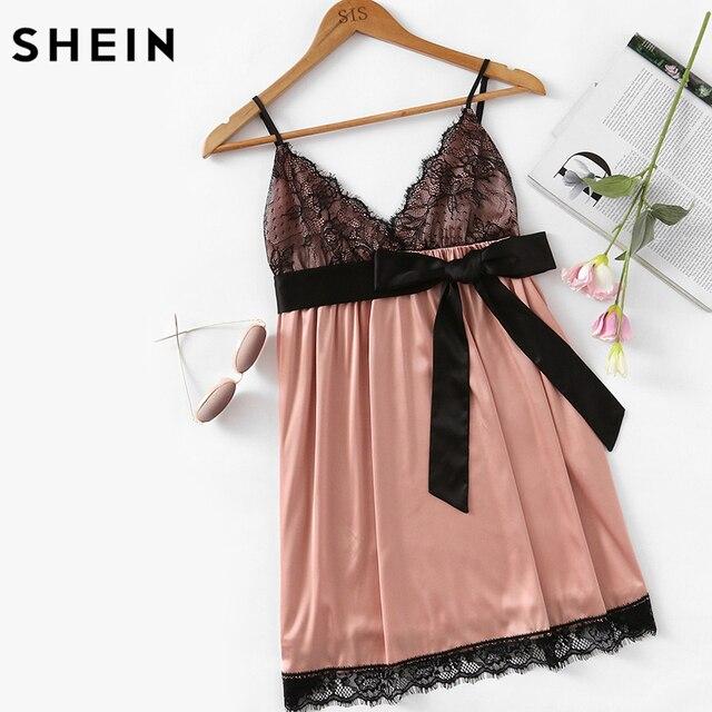 84019c32a14 SHEIN Eyelash Lace Detail Bow Waist Nightdress Sleepwear Women Spaghetti  Strap V Neck Sleeveless Sexy Sleepwear