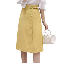 Summer women skirt 2018 new buckle medium long ladies skirt high waist Single-breasted bag hip skirt female wild skirt cw411(China)