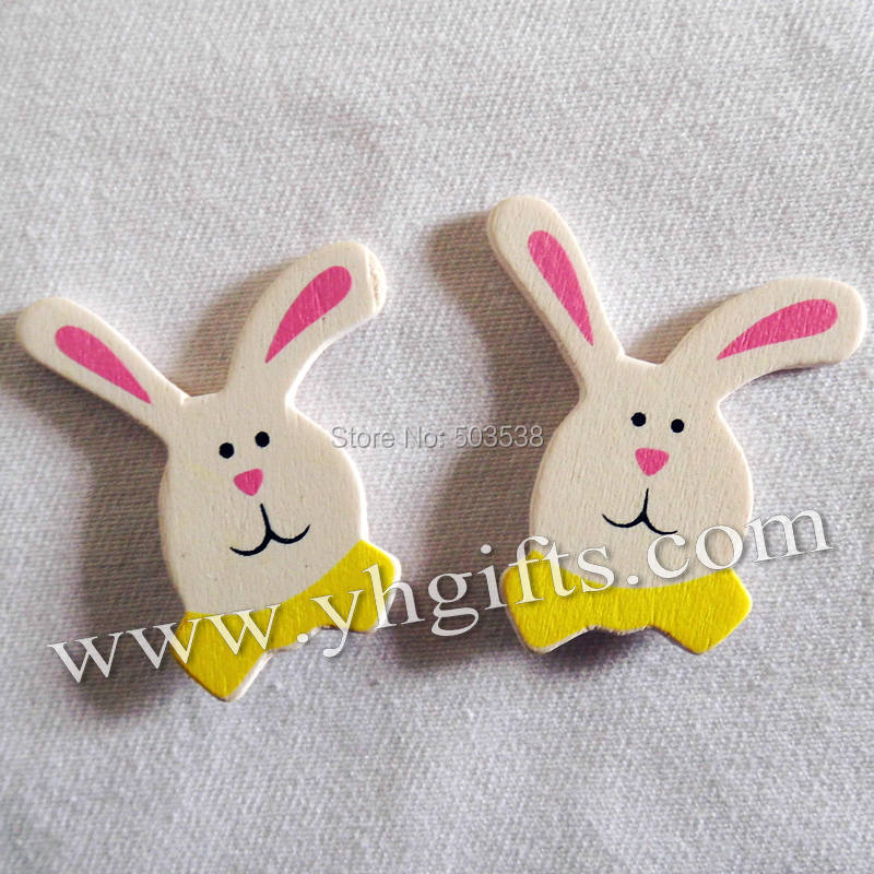 500PCS/LOT.Wood white rabbit stickers,3D animal sticker,,Easter crafts,Garden ornament,Plant decoration.Kids toys,3.5x4cm.OEM
