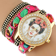 Gnova Platine TOP Large Sangle GRAND Cadran dentelle Ethnique mexicain Strass Frida roses couronne De Mode femme montre-bracelet bracelet montre