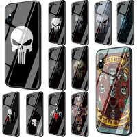 Comic schwarz punisher Gehärtetem Glas Telefon fall für Huawei P10 P20 P30 Mate 20 Ehre 9 10 Lite 7A Pro 8X Y6 Y9 P Smart