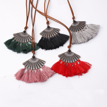Ethnic Long Leather Women's necklaces Bohemia Round Hollow Tassel necklace for women Vintage Charm Sweater chain new style 2018 vintage tassel engraved round arm chain for women