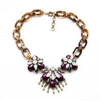 Women's fashion necklace New arrival brand gorgeous vintage gems petals pendant necklaces for women lady wholesale N1229