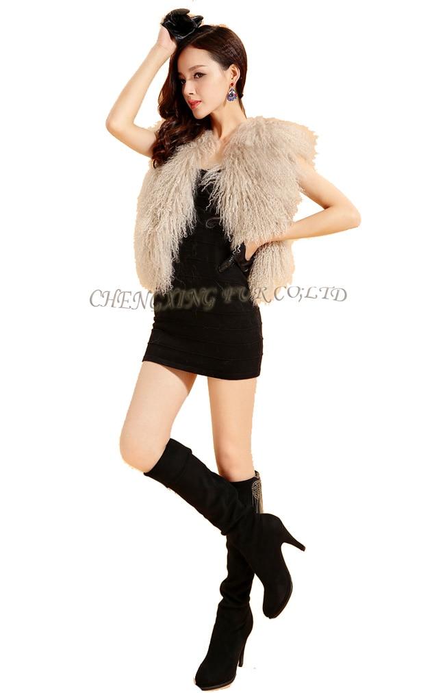 Cx-g-b-51genuine монгольского ягненка овец Мех животных жилет женские пикантные короткие жилет зимнее пальто Меховая куртка - Цвет: cream
