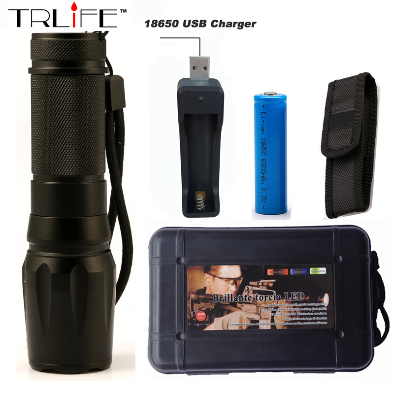 2017 6000 lumens Flashlight LED CREE XM-L2 T6 Torch Zoomable Lamp Aluminum Tactical Flashlight Light with 18650 Free Holster nitecore srt6 930 lumens cree xm l xm l2 t6 tactical led flashlight black free shipping