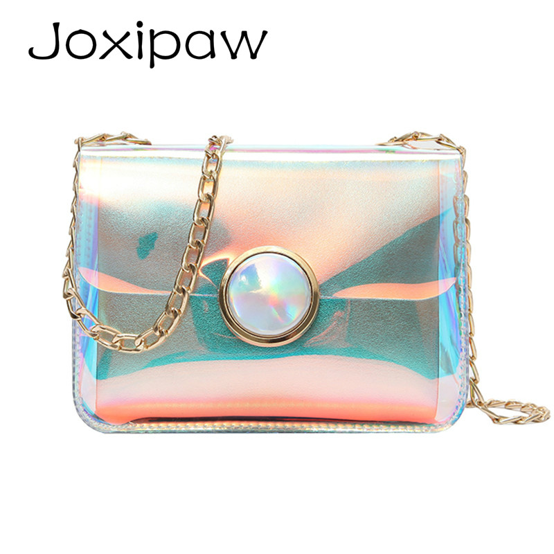 Female Holographic Clear Bag Transparent PVC Pearly Luster Women shoulder Bag Laser hologram Lady Messenger Bag Femmes Clair Sac
