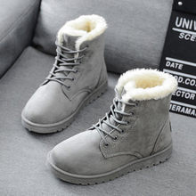 Women Boots 2016 Winter New Warm Snow Boots Flat Heel Ankle Boots Fashion Women Shoes botas mujer Black Red Gray(China)