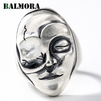 BALMORA 100% Real 990 Pure Silver Personalized Open Rings for Women Gift Punk Mask 990 Silver Ring Party Jewelry Anillos SY22042