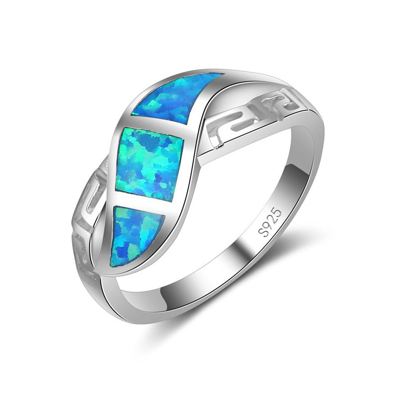 925 Sterling Silver Rings For Women/Men Wedding Engagement Jewelry Hollow Out Blue Fire Opal Party Finger Ring For Female
