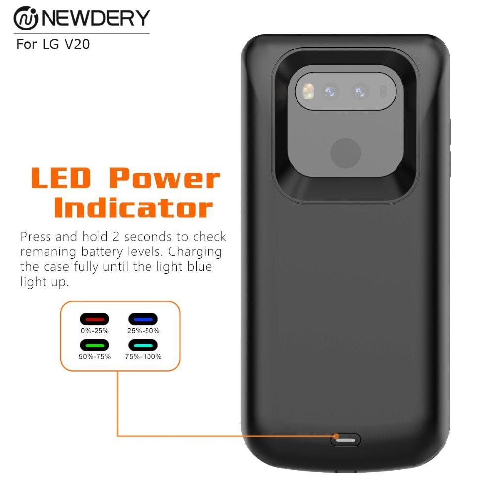 promo code 19e5f d75e2 US $32.19 8% OFF|NEWDERY Gift exclusive Phone case Power bank battery case  for LG V20 5000mAh rubber oil Black external backup power case -in Battery  ...