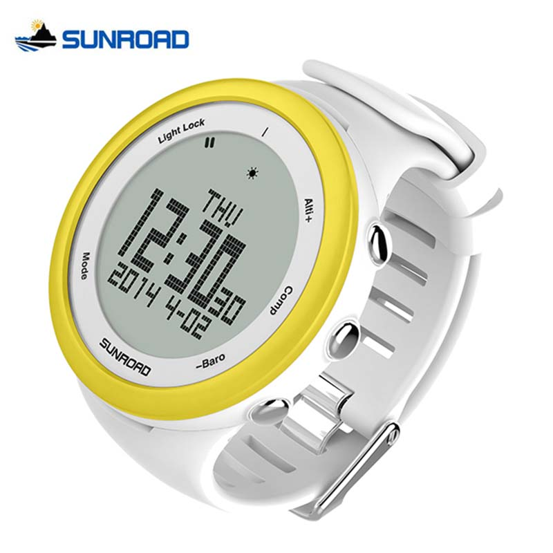 SUNROAD Climbing Camping Pedometer Barometer Altimeter Compass Watches Backlight Waterproof Digital Smart Sports Watch Men Women  sunroad fr800nb sports watch men waterproof digital altimeter barometer compass watches pedometer men watch style clock green
