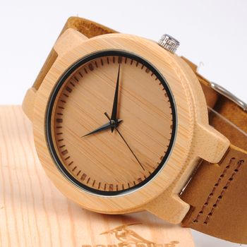 BOBO BIRD Men Watch Bamboo Watches With Real Leather Band Watch for Men in Wood Box relogio masculino Accept Logo Drop Shipping Quartz Watches