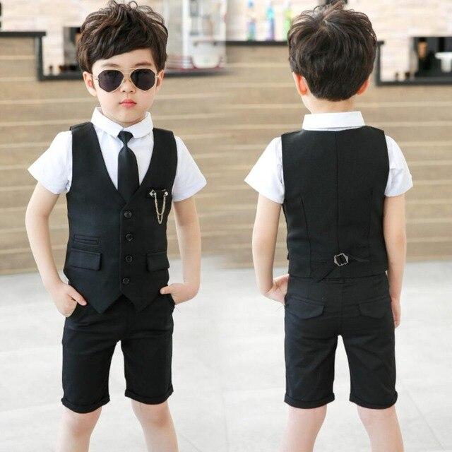 03e38a96a6e33 Boys Formal Tuxedo Dress Suits kids Weeding Sets Vest Pants Shirt Kids  Costumes Children Fashion Clothing Boy Birthday Suit Set