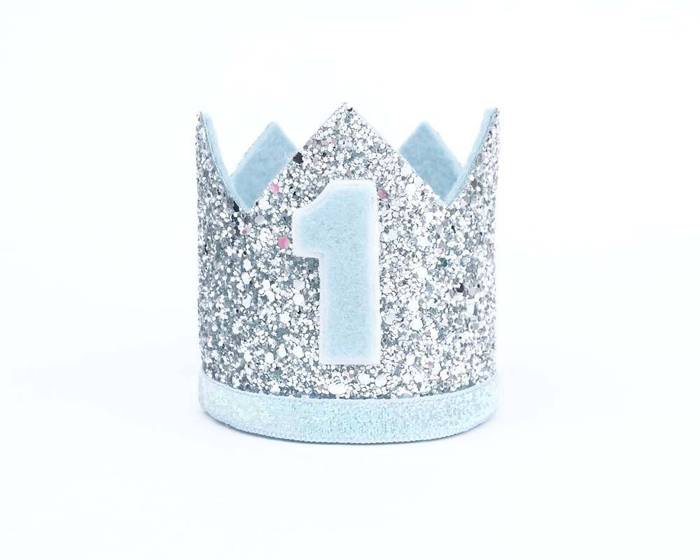 1st Birthday Hat Glitter Hat First Birthday Crown Blue Crown One Year Old Party Hat Light Blue Baby Boy Smash Cake Photo Prop