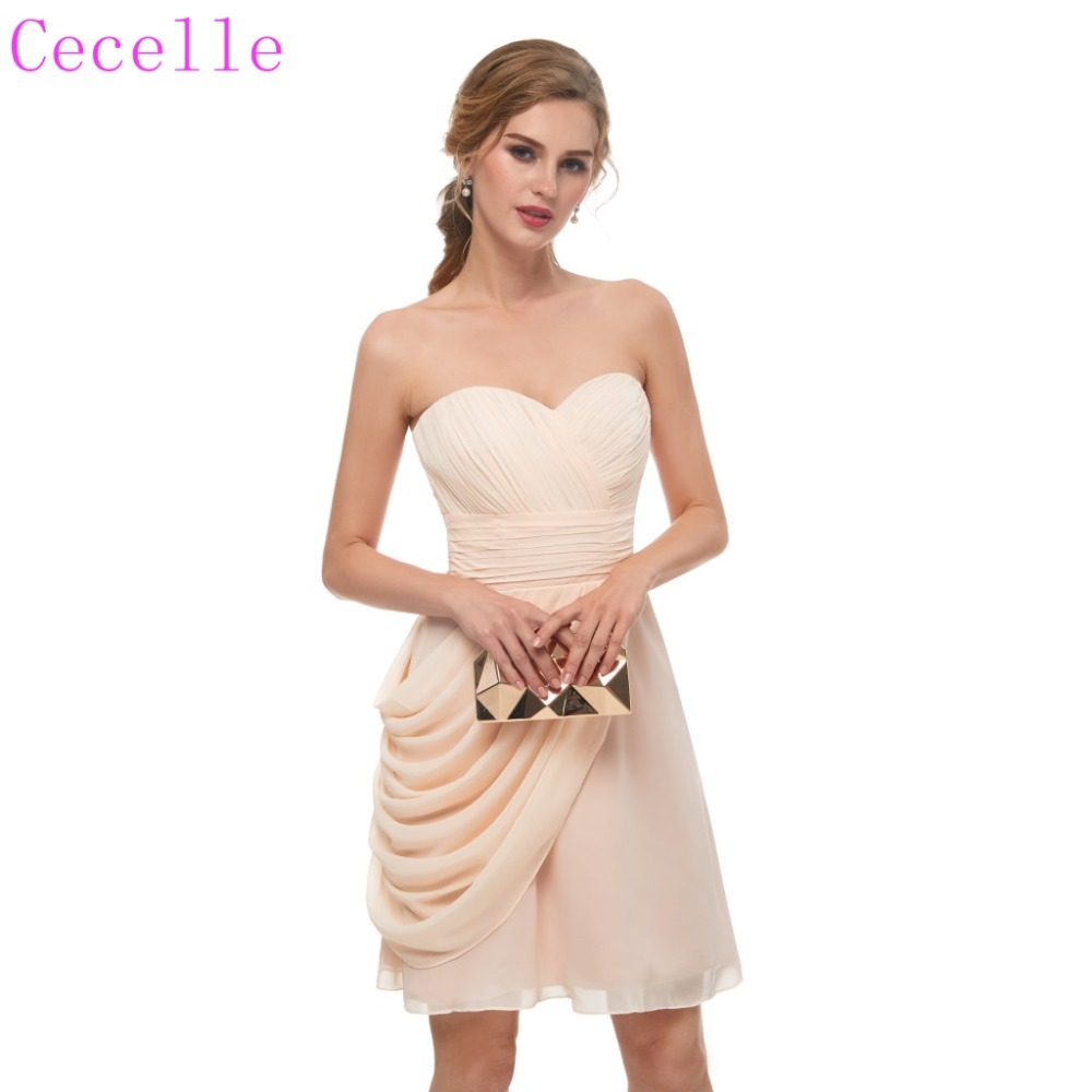 2019 Short Pleats Chiffon Champagne   Cocktail     Dress   Sweetheart Above Knee Juniors Informal   Cocktail   Party   Dress