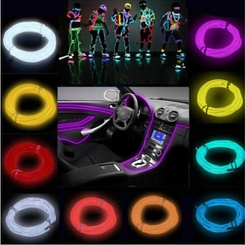 Newest 8 Color 3M Flexible LED Neon Tube Rope Light Glow Wire with  Controller for Car