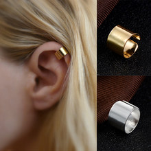 Simple Personality Pierced Ear Cuffs Punk Stainless Steel Silver Gold Clip Earrings Women Men Hip Hop Earrings Brincos8C1297(China)