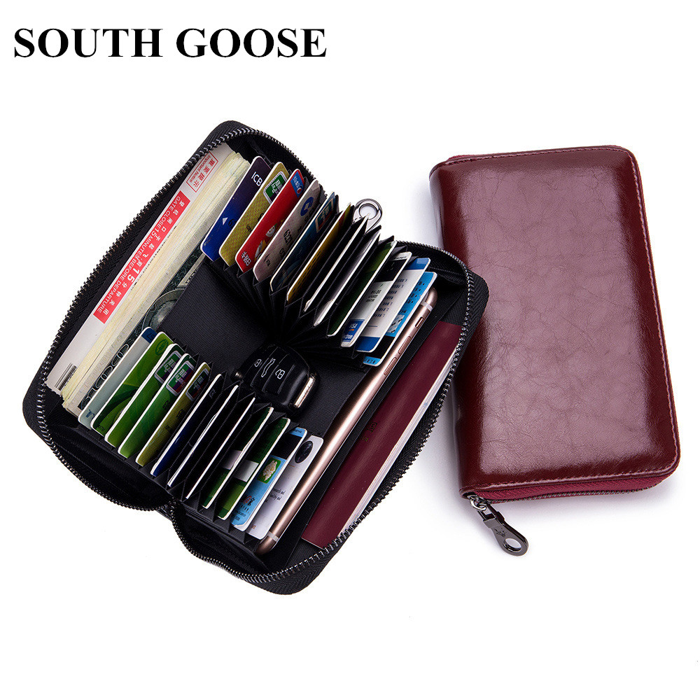 SOUTH GOOSE Brand Classic Wallet Fashion Men/Women Leather Long Zipper Wallets Clutch Handy Bag Large Capacity Card Holder