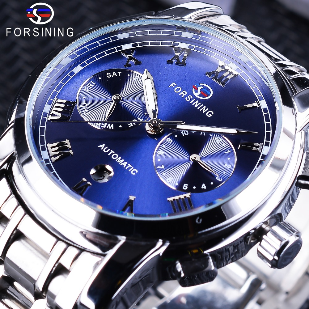 Forsining Waterproof Blue Ocean Dial Design Full Steel Calendar Display 2017 Fashion Mens Automatic Watch Top Brand Luxury ClockForsining Waterproof Blue Ocean Dial Design Full Steel Calendar Display 2017 Fashion Mens Automatic Watch Top Brand Luxury Clock