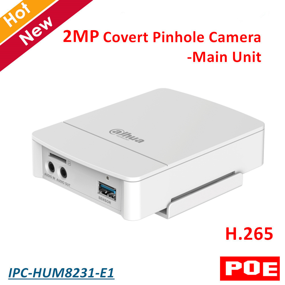 2MP Poe Dahua Covert Pinhole Camera Main Unit IPC-HUM8231-E1 H.265 Support Smart Detection And SD Card Metal Case