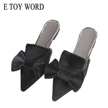 E TOY WORD Flat Pointed Toe Slippers suede Fashion lazy Half Slippers Bowknot sandals and slippers Women Summer 2019 New stylish women s slippers with pointed toe and solid colour design