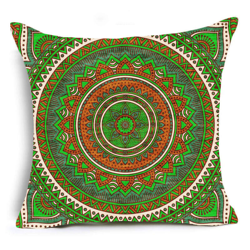 Green Mandala Print Sofa Cushion Covers