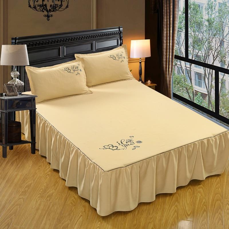 Modern Styles Ruffles Bed Skirt 3Pcs Set Bed Skirt+Pillow Case Sanding Reactive Printed  ...